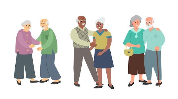 Couples de personnes âgées. différentes ethnies et nationalités. illustration