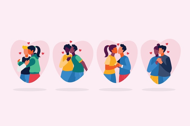 Couples plats embrassant illustration de jeu
