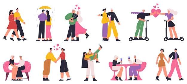 Couples romantiques, homme et femme heureux datant, marchant, étreignant. couples amoureux, rencontres, marche, étreinte ensemble d'illustrations vectorielles à plat. couples romantiques heureux. amour et romance en couple