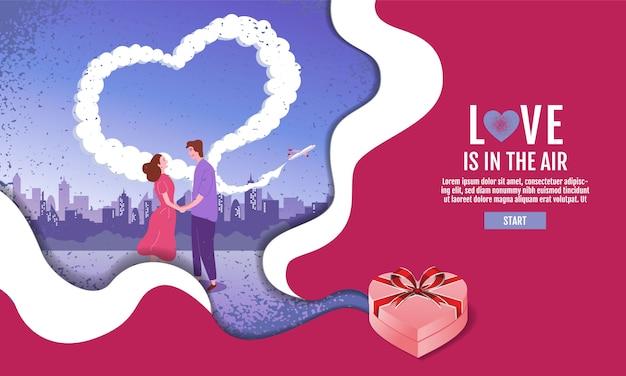Les couples se tiennent la main dans le jardin. le ciel est en forme de coeur, saint valentin, amour
