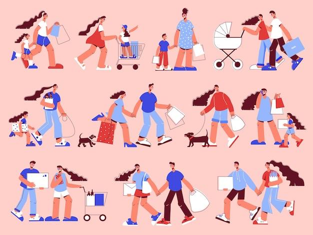 Couples de shopping en famille avec landau chien mère fille transportant des marchandises poussant des chariots scène rose ensemble plat illustration