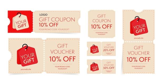 Coupon-cadeau et bon avec code promotionnel sur l'ensemble de réduction. billet de magasinage détachable vintage, carte-cadeau avec vente