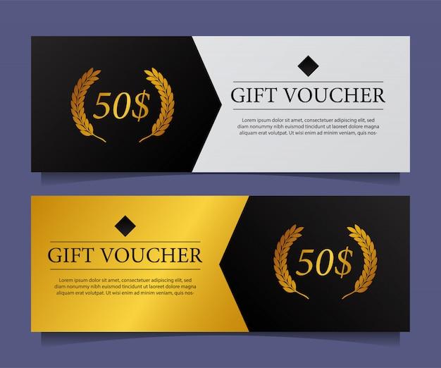 Coupon de carte cadeau élégant élégant moderne avec accent doré.
