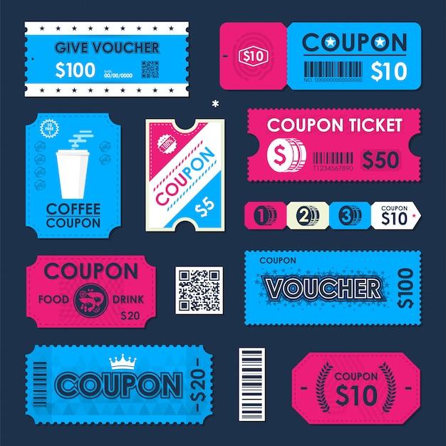 Coupon, carte-ticket chèque cadeau. modèle d'élément pour la conception.