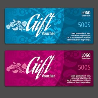 Coupon de certificat de chèque-cadeau de vecteur. bannière de carte, papier de cadre d'étiquette, illustration de prix spécial de réduction