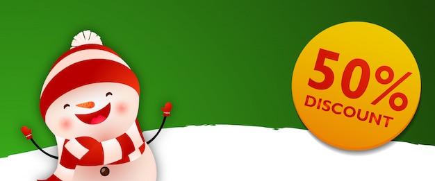 Coupon de réduction avec bonhomme de neige drôle de dessin animé
