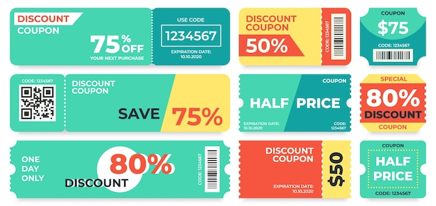 Coupon de réduction. offre à moitié prix, bon cadeau de code promotionnel et modèle de coupons