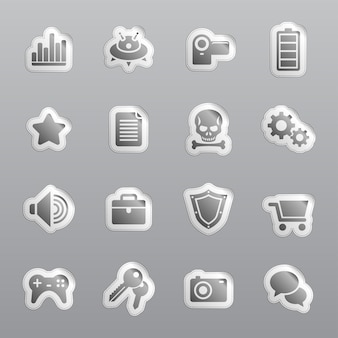 Coupons et autocollants. icônes grises pour le web.