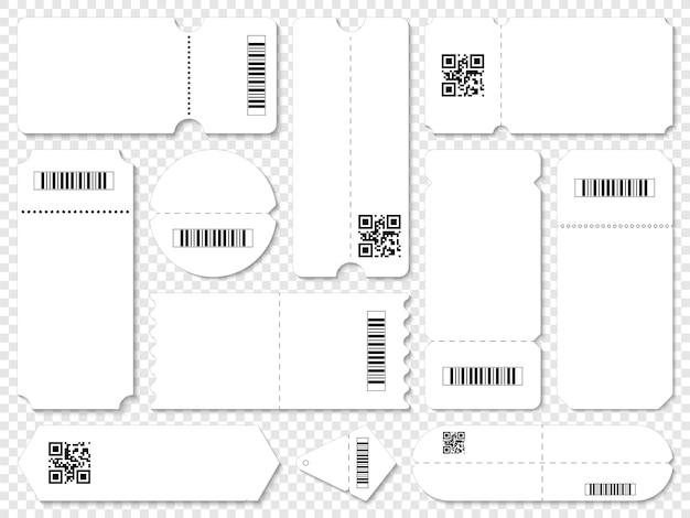 Coupons avec codes qr et codes à barres