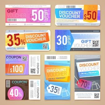 Coupons de réduction et chèques cadeaux. matériel promotionnel de vecteur.