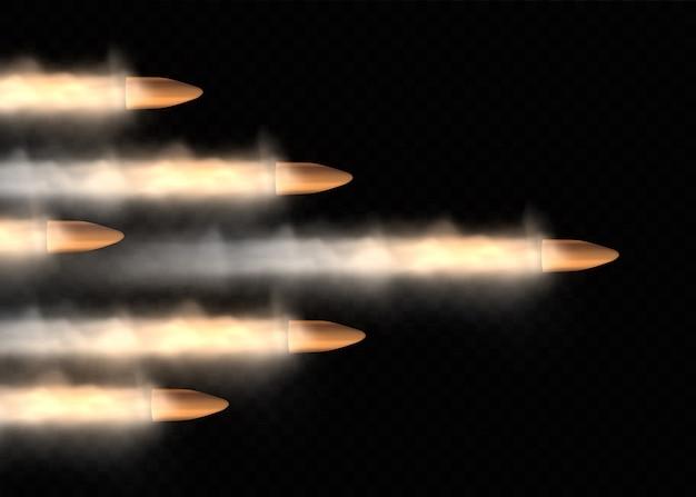 Coups de feu, balle en mouvement, traînées de fumée militaires. balle volante réaliste en mouvement. traces de fumée isolées. sentiers de tir à l'arme de poing.
