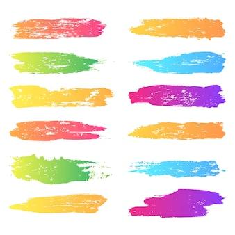 Coups de pinceau colorés dégradés abstraits avec ensemble de vecteurs de brosse à encre