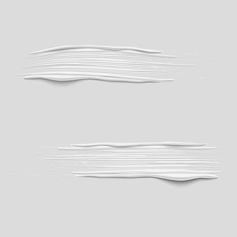 Coups de pinceau de peinture blanche vecteur 3d