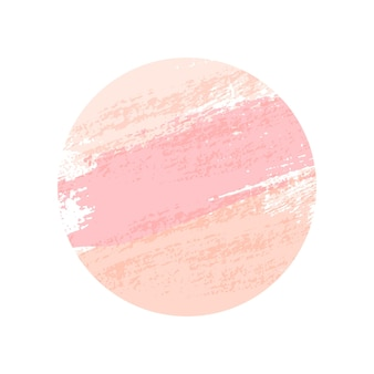Coups de pinceau rond rose pastel isolés sur fond blanc