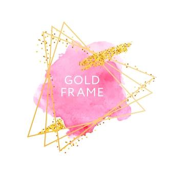 Coups de pinceau rose et cadre doré.