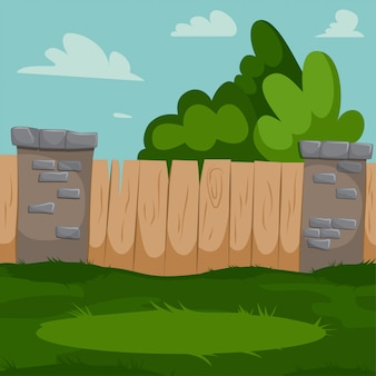 Cour arrière avec clôture en bois, piliers en brique et herbe verte.