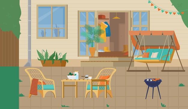 Cour arrière de maison ou patio avec gril