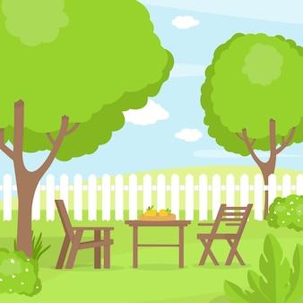 Cour arrière avec plantes et meubles de jardin
