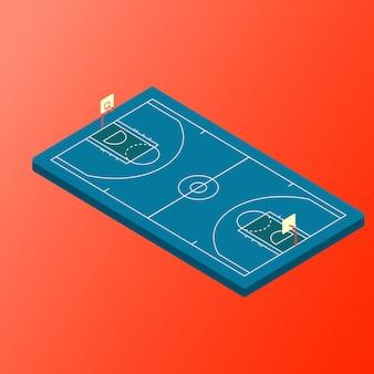 Cour de basket-ball isométrique de vecteur bleu