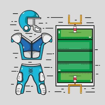 Cour de football américain avec élément de vêtements