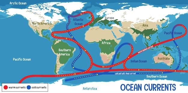 Courants océaniques sur fond de carte du monde