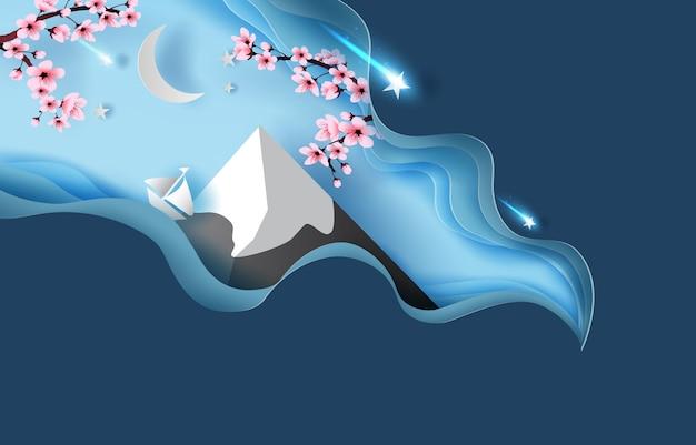 Courbe abstraite de printemps paysage de montagne fuji