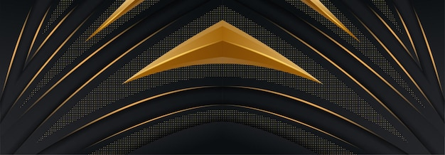 Courbe abstraite se chevauchant sur fond noir avec des lignes dorées