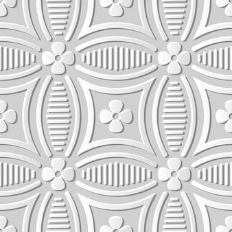 Courbe d'art de papier 3d modèle sans couture ronde fleur ligne croisée