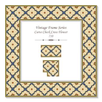 Courbe de cadre 3d carré vintage vérifier fleur croisée, style rétro.