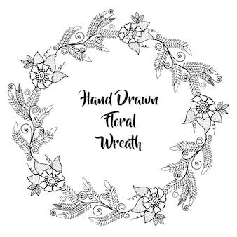 Courbe florale noire et blanche à la main