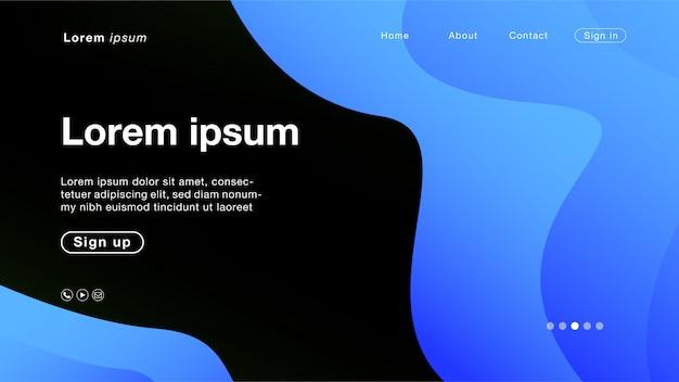 Courbe de fond ligne bleue abstraite pour la page d'accueil