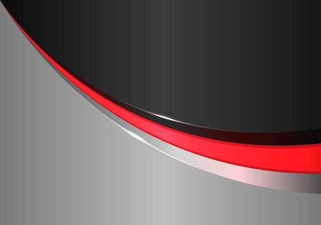 Courbe de ligne rouge abstraite sur le design gris noir moderne futuriste.