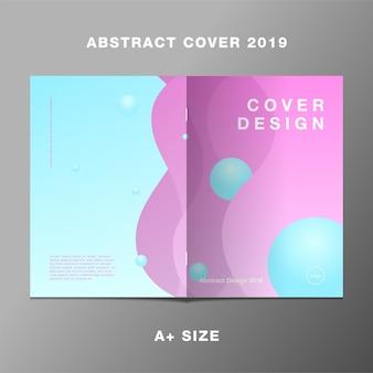 Courbe rose sur le rapport de livre dégradé bleu couverture 2019