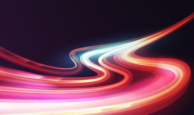 Les courbes des vagues de la piste de lumière à effet d'exposition longue les voitures de ville conduisent sur l'autoroute abstraite