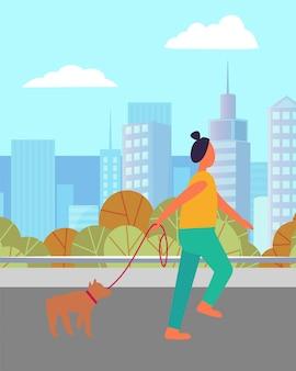 Coureur, femme, et, chien, dans, ville, vecteur activité