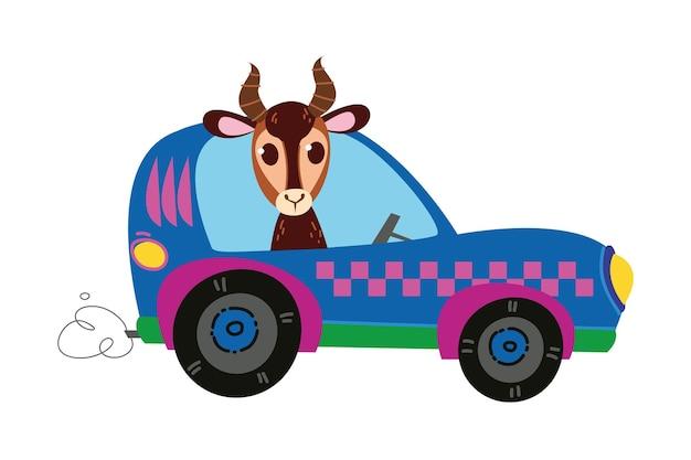 Coureur de gazelle au volant. voiture de course rose de dessin animé moderne de vecteur. logo drôle et mignon d'enfants automatiques. impression garçonne - pour les vêtements, les cartes, les bannières. comique clipart conduire le sport
