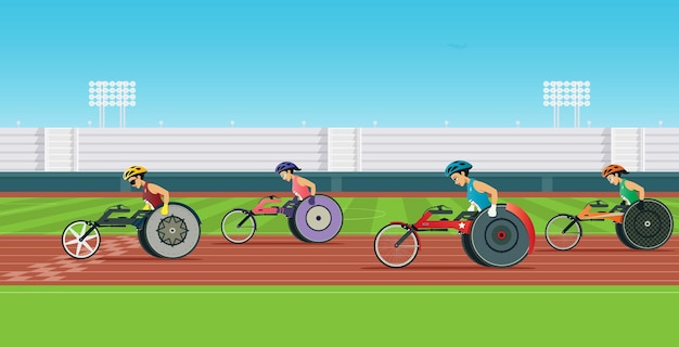 Un coureur handicapé en fauteuil roulant est en compétition dans un stade