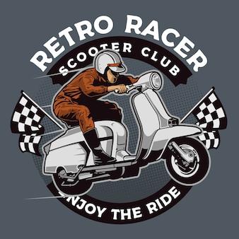 Coureur de scooter rétro