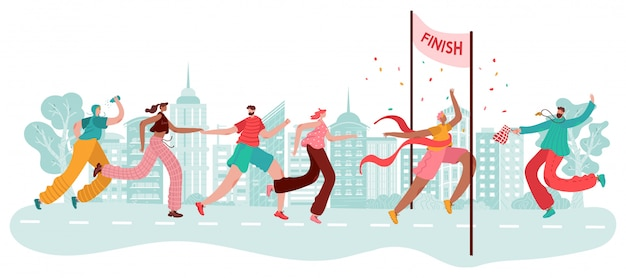 Coureurs de marathon, vainqueur de sport à l'arrivée, course d'athlètes, compétition de jogging en ville et illustration de dessin animé.