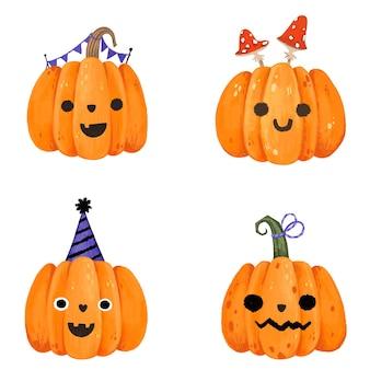 Courge citrouille aquarelle dessinée à la main mignonne pour halloween