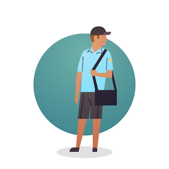 Courier boy icon travailleur de la prestation des services postaux