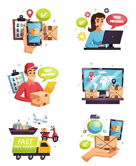 Courier delivery compositions elements set