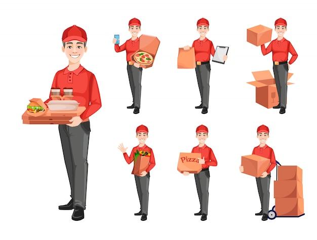 Courier, ensemble de sept poses. concept de service de livraison