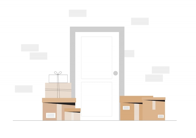 Courier a laissé la boîte de livraison à la porte de la maison.