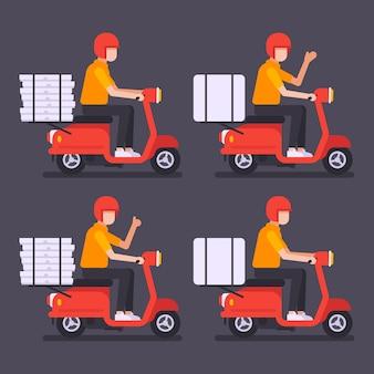 Courier sur scooter livre des pizzas et des marchandises. jeu de caractères. illustration vectorielle