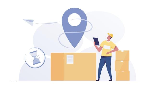 Courier vérifie la liste des colis. boîtes pour l'envoi de courrier. employé d'entrepôt ou facteur.