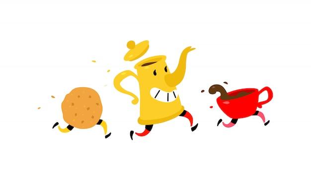 Courir la cafetière avec une tasse de café et des biscuits.
