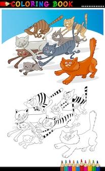 Courir des chats pour coloring book ou page