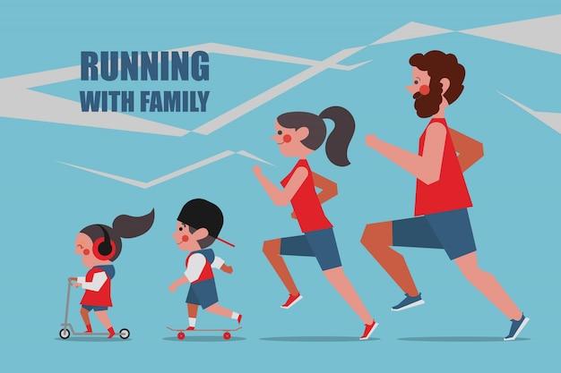 Courir avec la famille les personnages dessinent un style plat