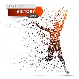 Courir, gagnant homme. image composée de points